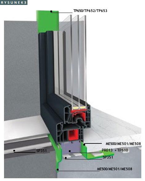Przykład osadzenia okna w systemie Ideal 7000 na profilu izolacyjnym XPS