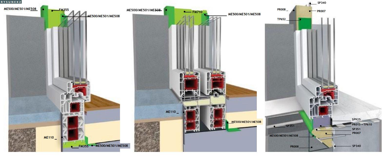 Przykładowe rozwiązanie montażu warstwowego dla różnych konstrukcji okiennych w płaszczyźnie muru oraz warstwie izolacji