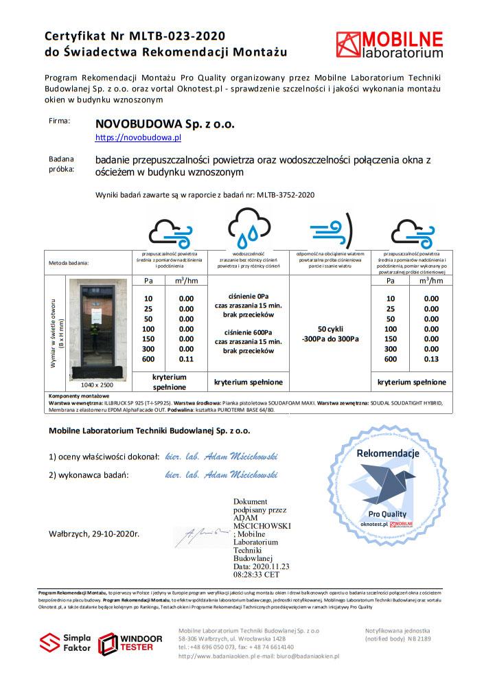NOVOBUDOWA - certyfikat badania szczelności montażu
