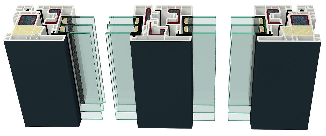 Złożenie ramy ościeżnicy i ram skrzydeł kształtowników okiennych systemu GEALAN-KUBUS w konstrukcji okna dwuskrzydłowego z ruchomym słupkie