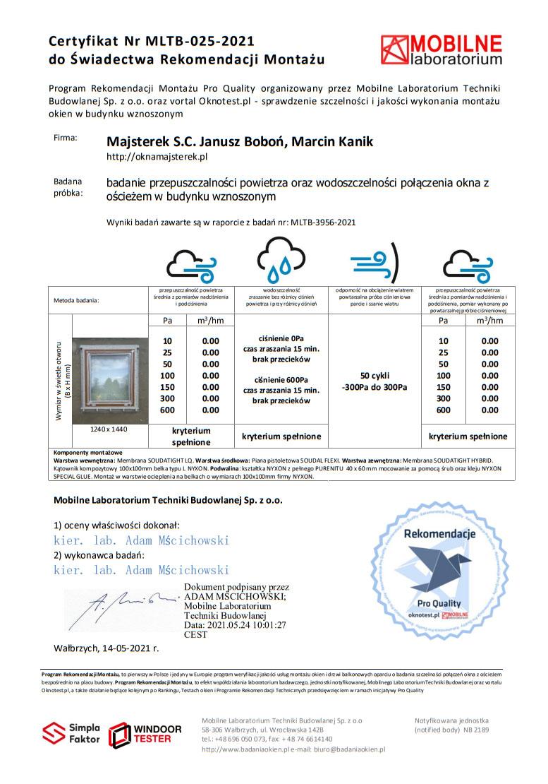 Certyfikat potwierdzający wykonanie badania szczelności montażu