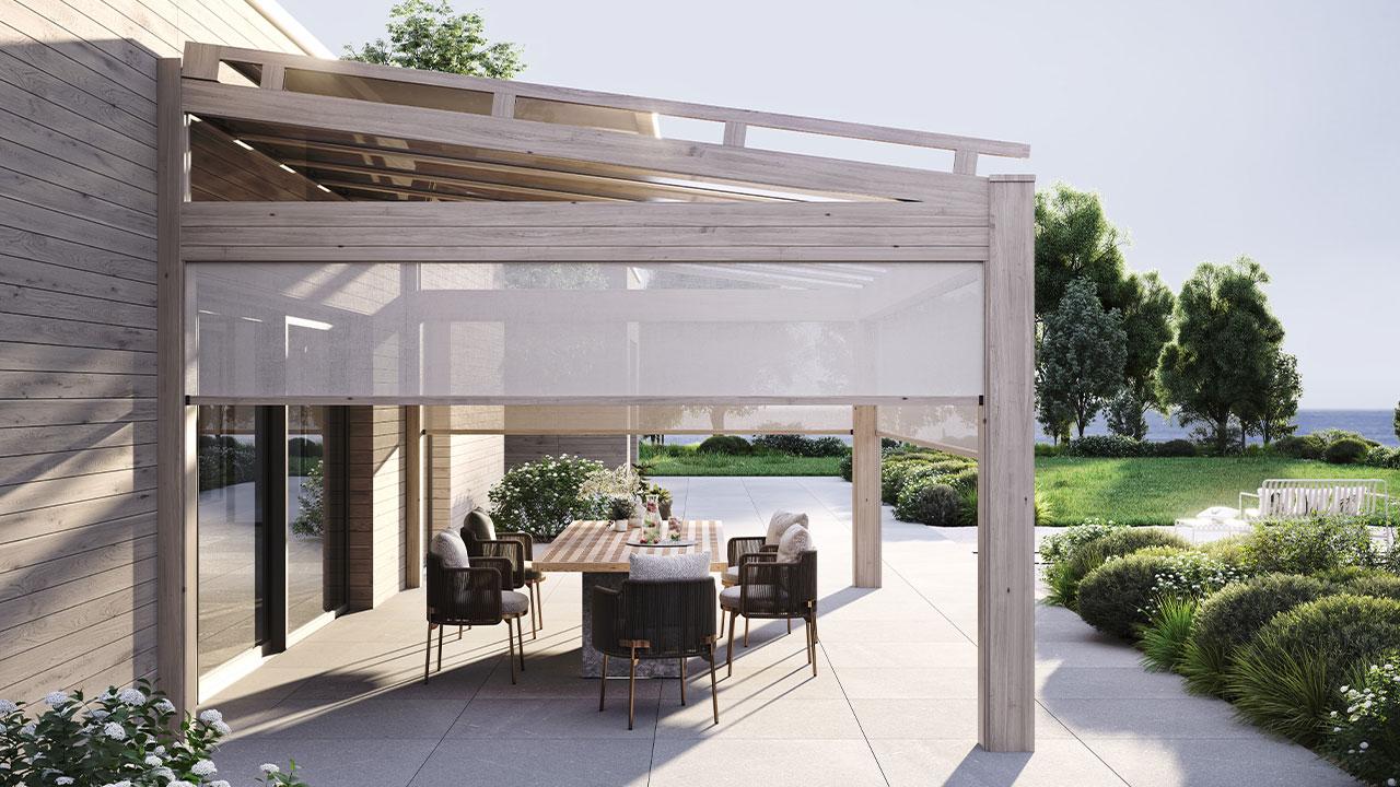 Ochronę przed słońcem i wysoką temperaturą pod dachem tarasowym systemu heroal OR zapewniają markiza na szkło heroal HS oraz markiza pionowa heroal VS Z OR. © heroal