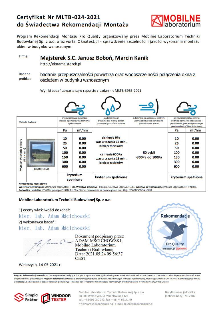 Certyfikat potwierdzający pozytywny wynik badania szczelności montażu