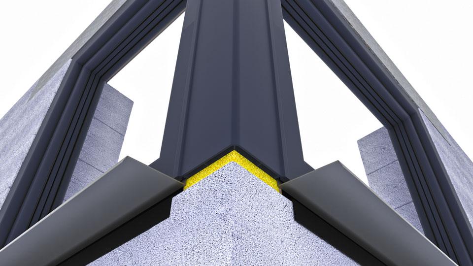 Zestaw okien narożnych ze słupem kątowym 90° - potencjalne problemy montażowe: uszczelnienie zewnętrzne pod słupem kątowym, osadzenie parapetów zewnętrznych, otwarte, zewnętrzne komory słupa kątowego