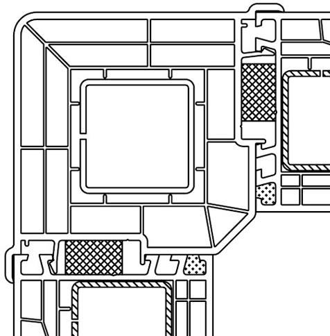 Aluplast - słup kątowy 90° wraz z przylegającymi kształtownikami ram ościeżnic