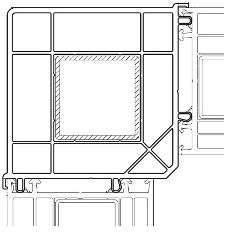 VEKA - słup kątowy 90° wraz z przylegającymi kształtownikami ram ościeżnic