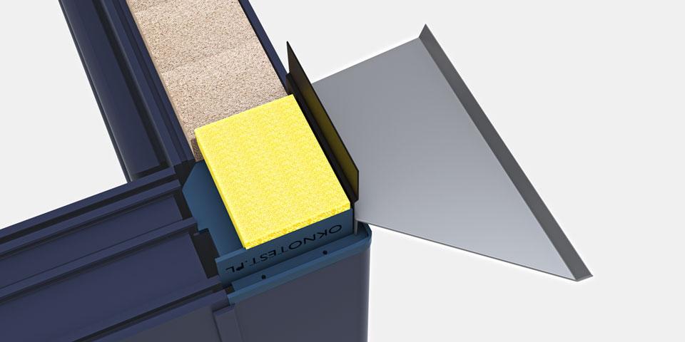 Zaślepka słupa kątowego 90° – złożenie elementów – widoczny wrąb z otworami odwodnienia