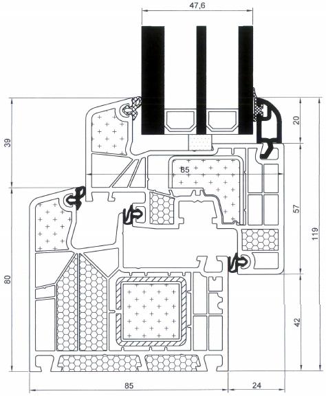 Przekrój złożenia kształtowników okna Passiv-line S