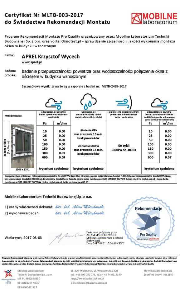 Certyfikat Mobilnego Laboratorium Techniki Budowlanej