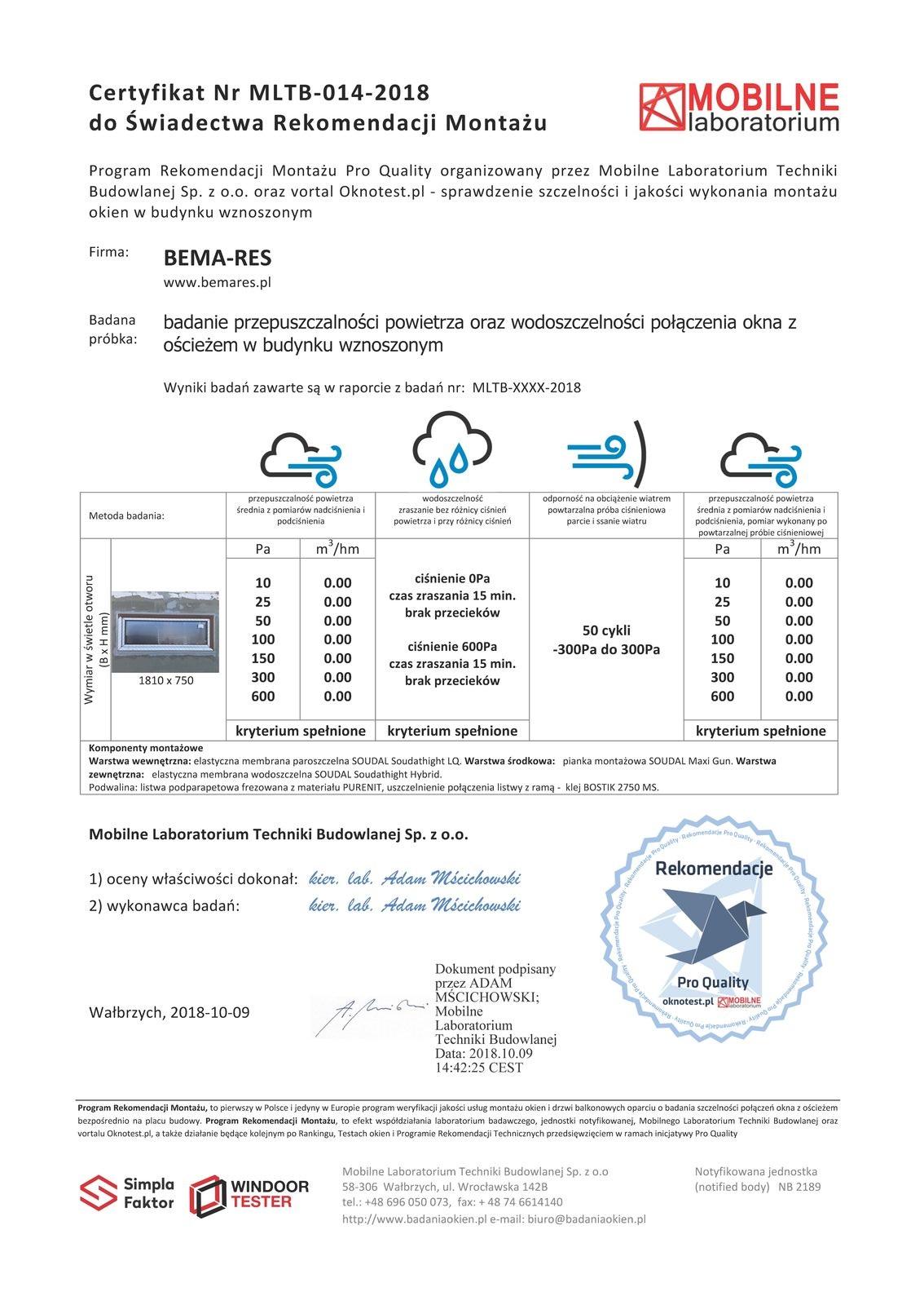 Certyfikat szczelności montażu dla firmy BEMARES wydany przez Mobilne Laboratorium Techniki Budowlanej w Wałbrzychu