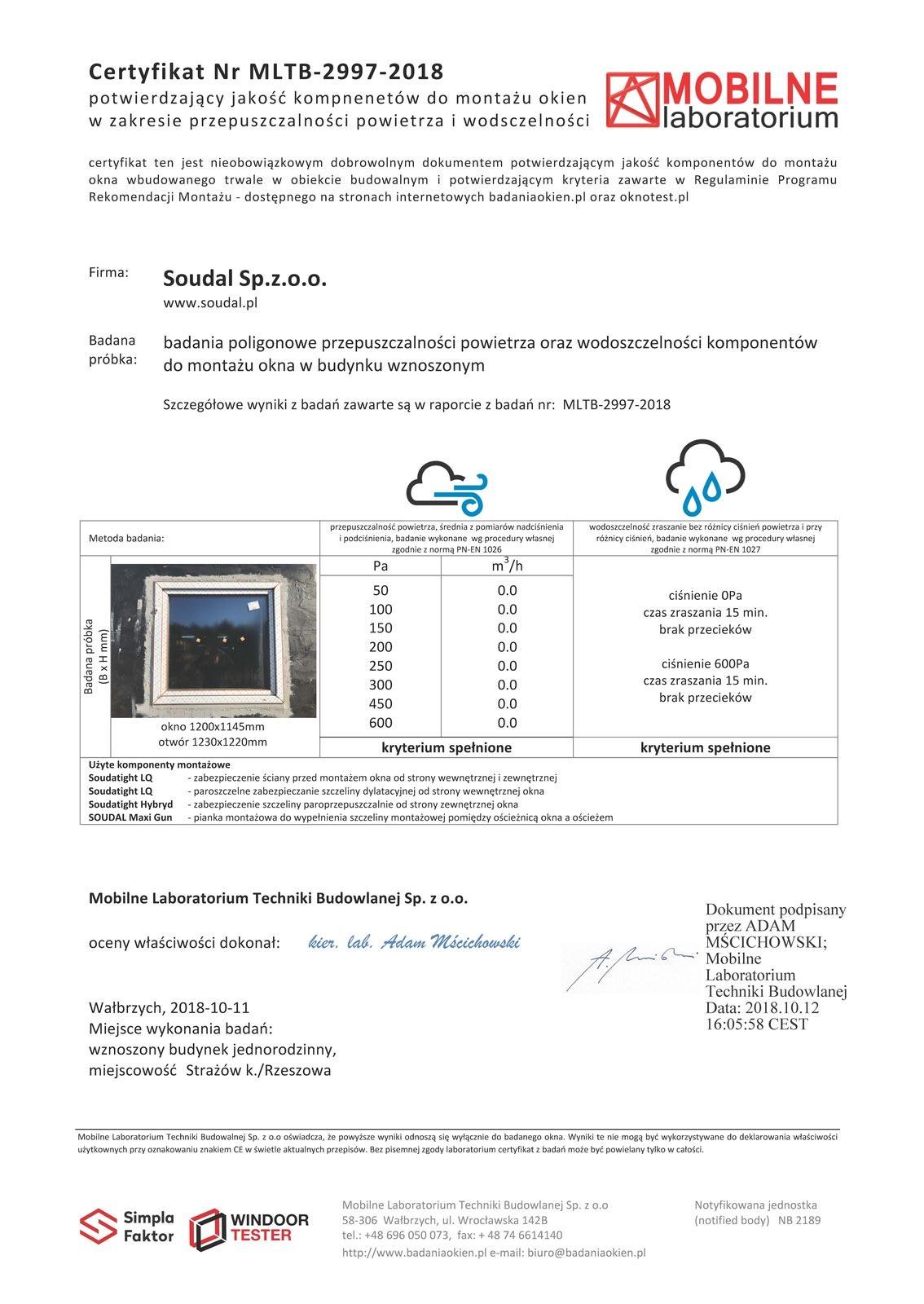 Certyfikat szczelności montażu dla firmy SOUDAL wydany przez Mobilne Laboratorium Techniki Budowlanej w Wałbrzychu