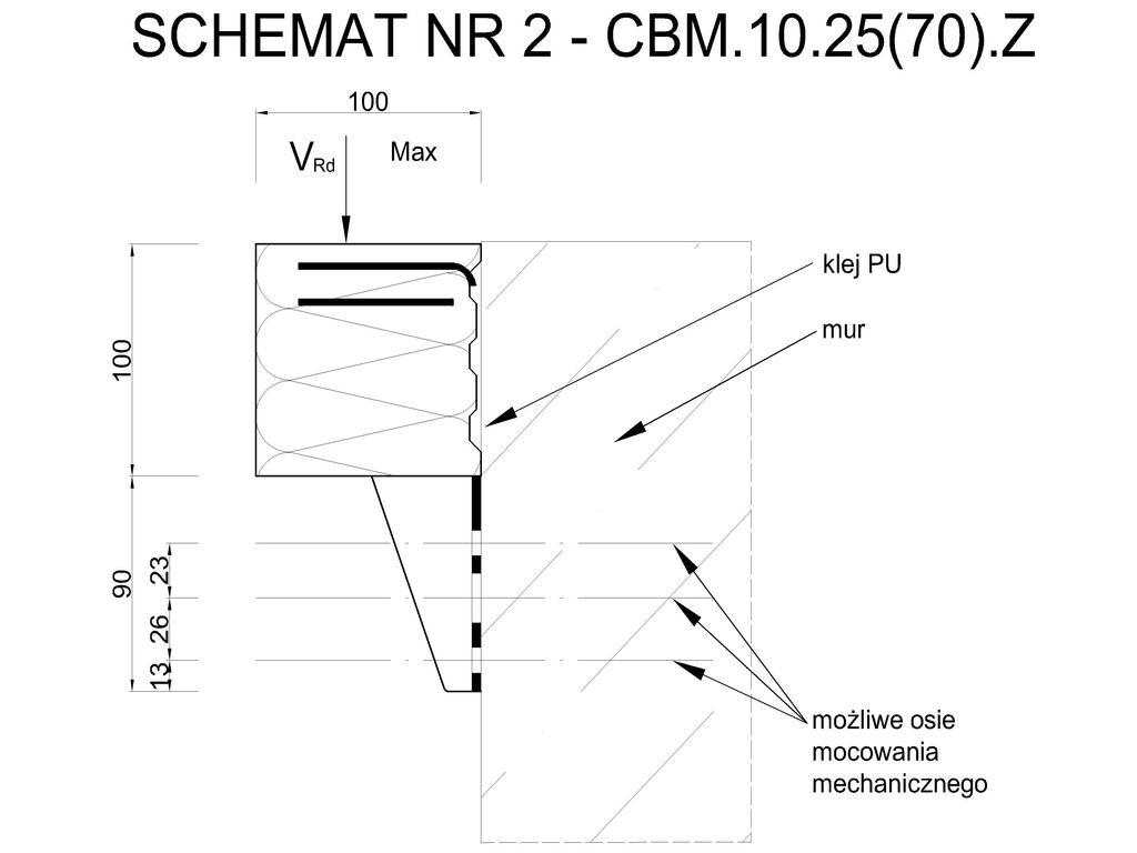 Element systemu montażu w warstwie ocieplenia Marbet Bausystem CBM 10.25(70).Z