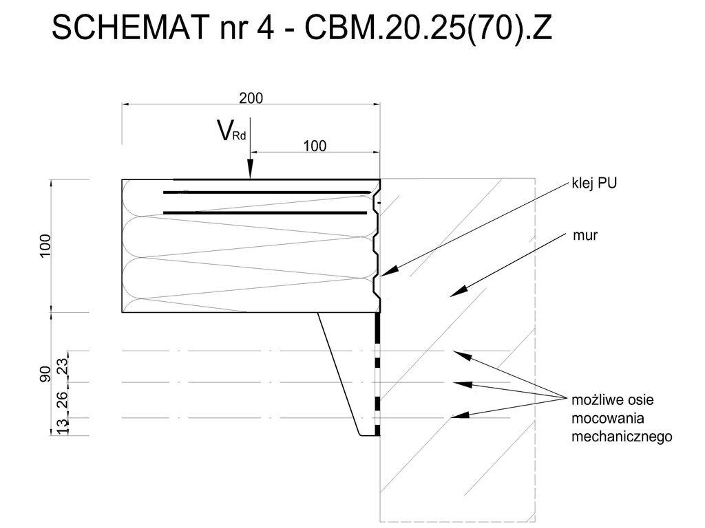 Element systemu montażu w warstwie ocieplenia Marbet Bausystem CBM 20.25(70).Z