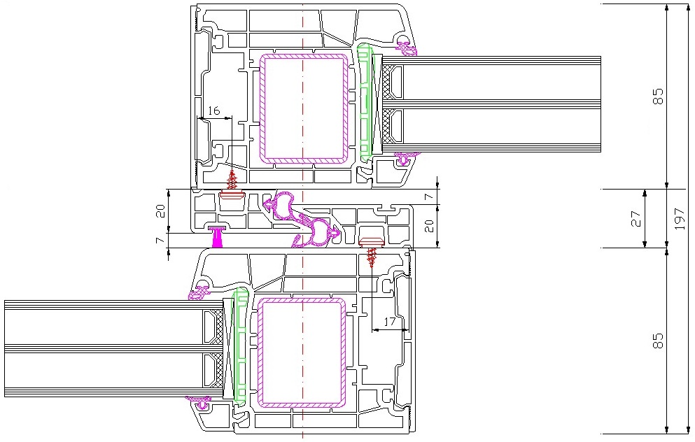 Drzwi balkonowe HST Aluplast 85 mm schemat części środkowej. Elementy konstrukcyjne skrzydła i ramy ościeżnicy oszklenia stałego.