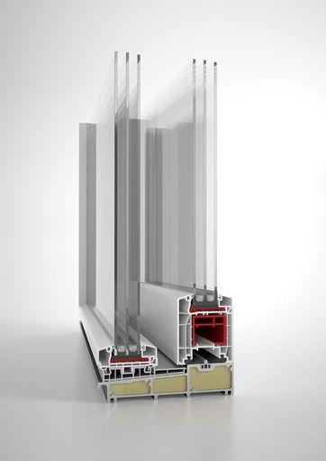 Drzwi balkonowe HST Aluplast 85 mm fixframe przekrój części progowej