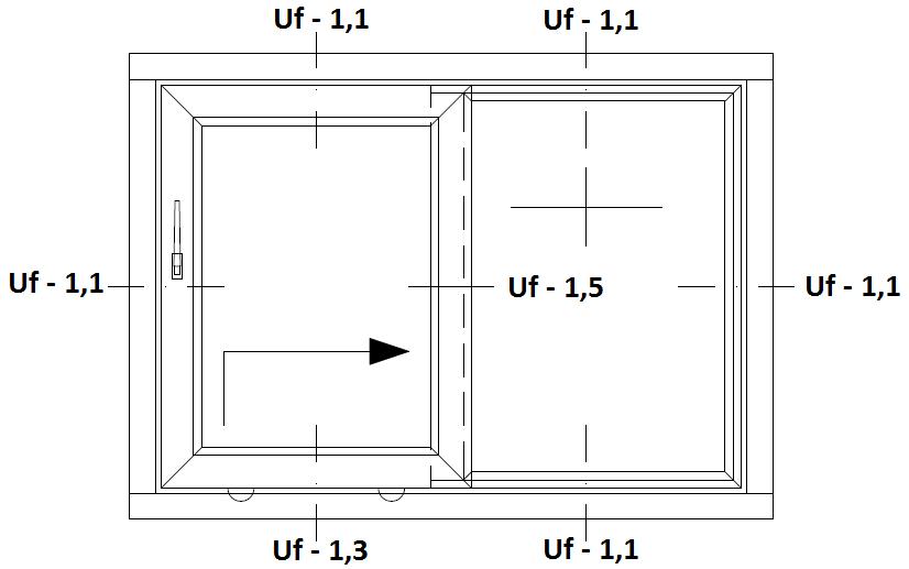 Schemat drzwi balkonowych HST Aluplast 85 mm Fixframe