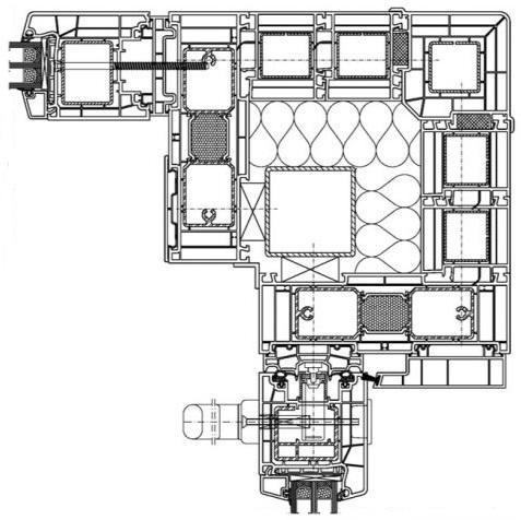 Połączenie narożne drzwi balkonowych HST z użyciem systemowych elementów konstrukcyjnych.