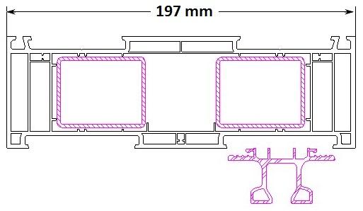 """Przekrój ościeżnicy drzwi balkonowych HST Aluplast 85mm typ """"Basic"""""""