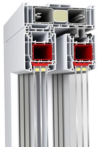 """Przekrój ościeżnicy drzwi balkonowych HST Aluplast 85 mm typ """"Premium"""""""