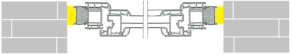 20. Schemat przystawania płaszczyzn muru konstrukcyjnego budynku, ramy ościeżnicy okna oraz Termo-LISTWY systemu EMO-STROPEX. Detal. Nieuzasadnione względami technicznymi wpusty w wyniku przesunięcia płaszczyzn elementówn
