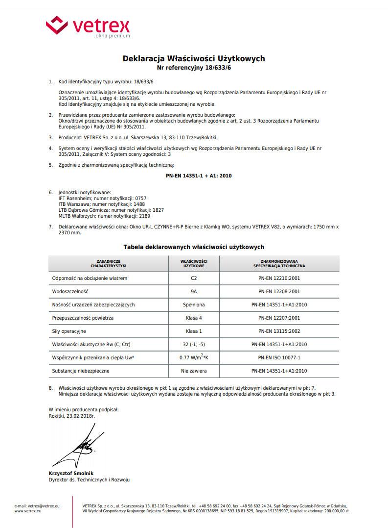 Deklaracja Właściwości Użytkowych okien Vetrex V82 (drzwi balkonowe dwuskrzydłowe z ruchomym słupkiem)