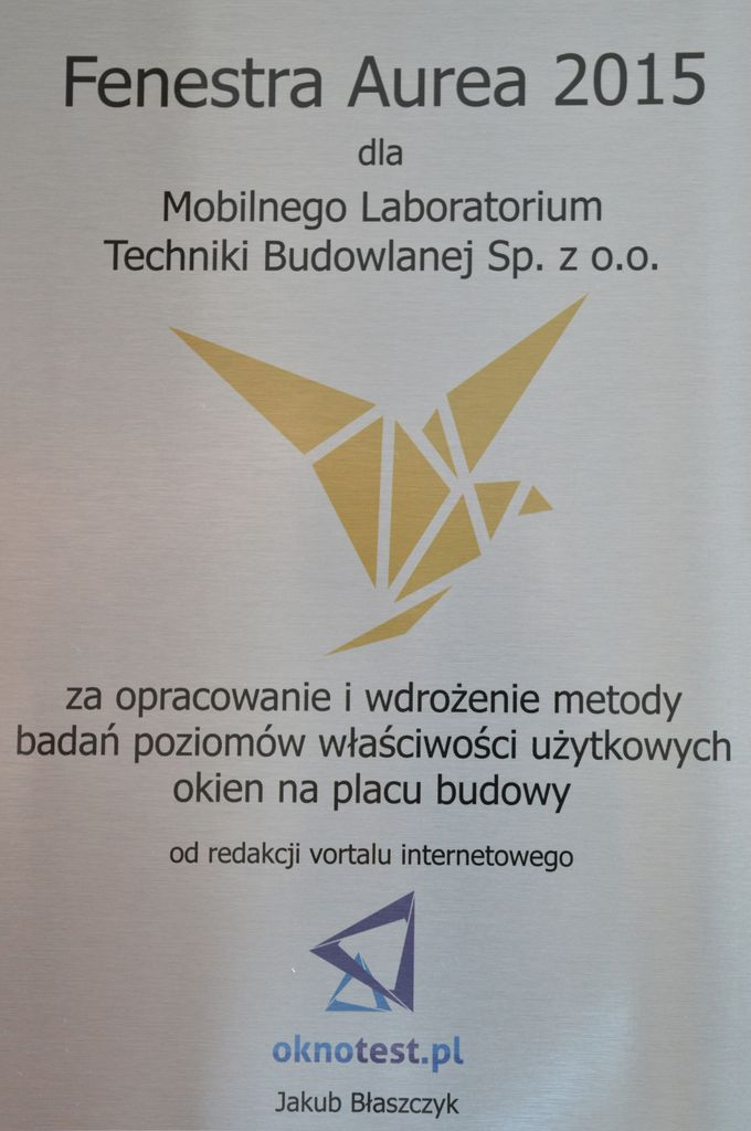 Nagroda Fenestra Aurea 2015 dla Mobilnego Laboratorium Techniki Budowlanej Sp. z o.o.