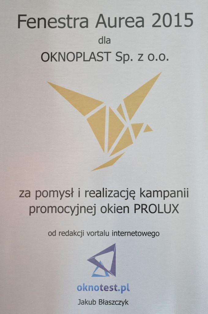 Nagroda Fenestra Aurea 2015 dla OKNOPLAST Sp. z o.o.