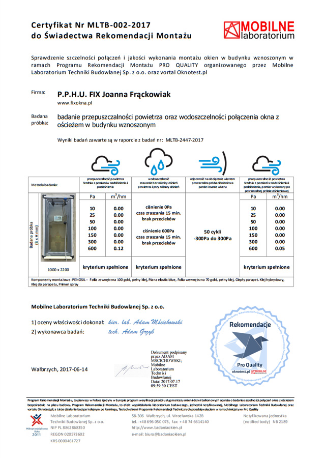 Certyfikat wystawiony przez laboratorium notyfikowane - Mobilne Laboratorium Techniki Budowlanej