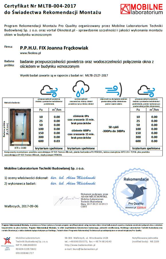 Certyfikat wydany przez jednostkę notyfikowaną - Mobilne Laboratorium Techniki Budowlanej