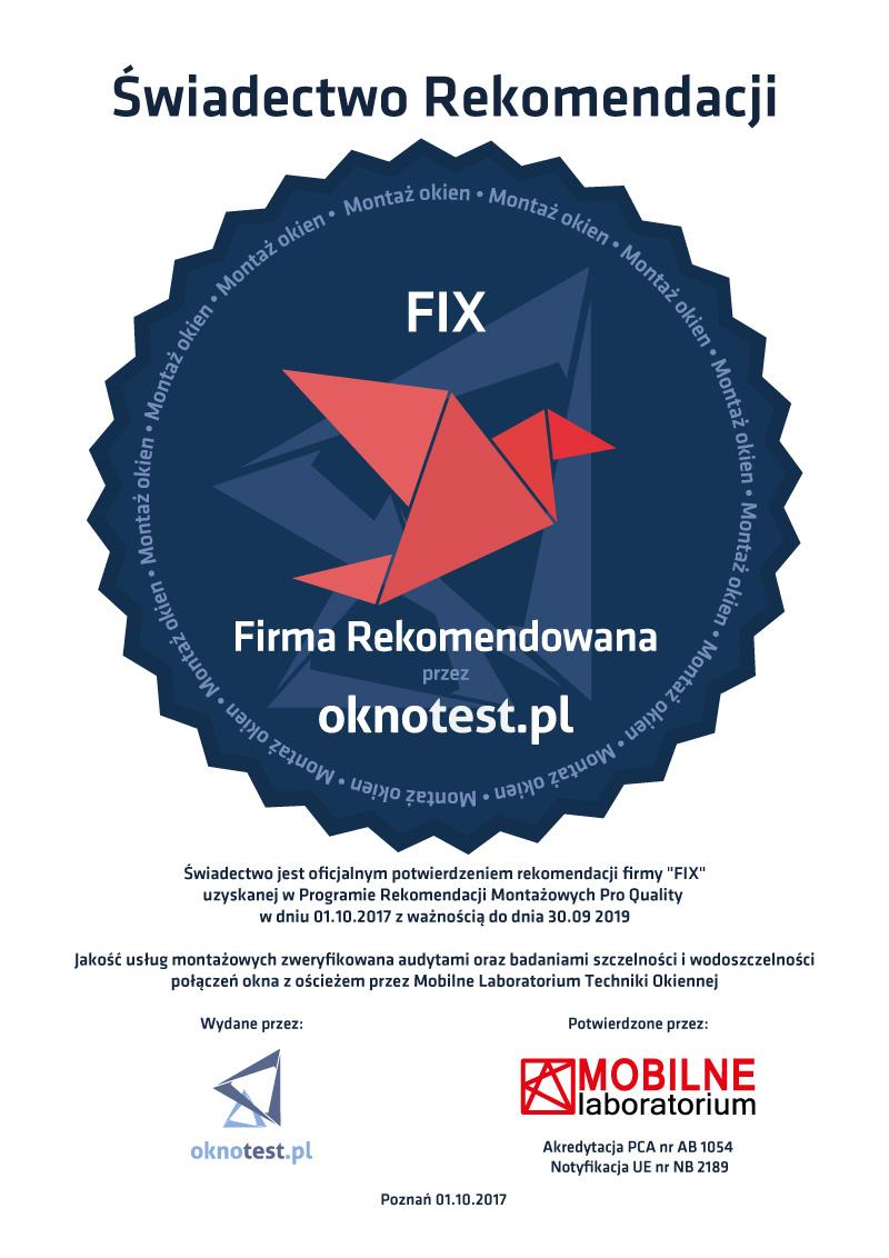 FIX Wrocław - Świadectwo Rekomendacji Montażu
