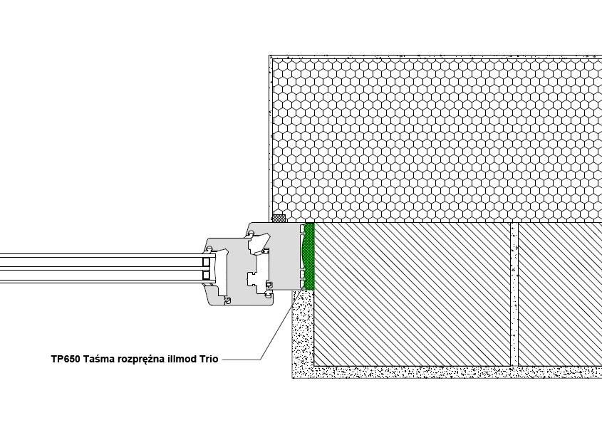 Boczne uszczelnienie złącza okiennego z wykorzystaniem wielofunkcyjnej taśmy rozprężnej TP650 illmod Trio
