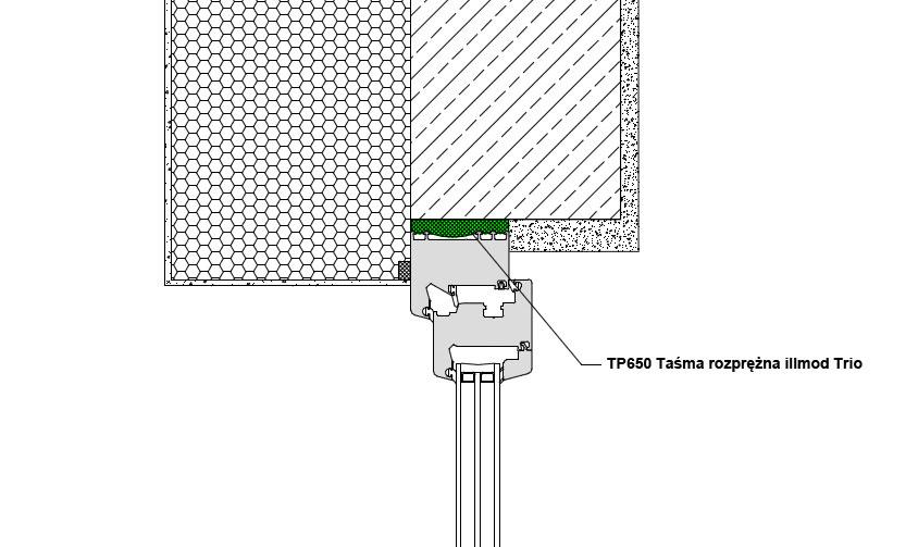 Górne uszczelnienie złącza okiennego z wykorzystaniem wielofunkcyjnej taśmy rozprężnej TP650 illmod Trio
