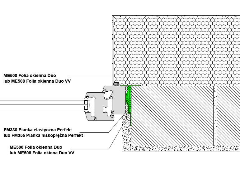 Boczne uszczelnienie złącza okiennego z wykorzystaniem folii okiennych i pianki poliuretanowej