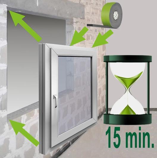 Średni czas na wstawienie ramy po oklejeniu taśmą rozprężną to 15 minut