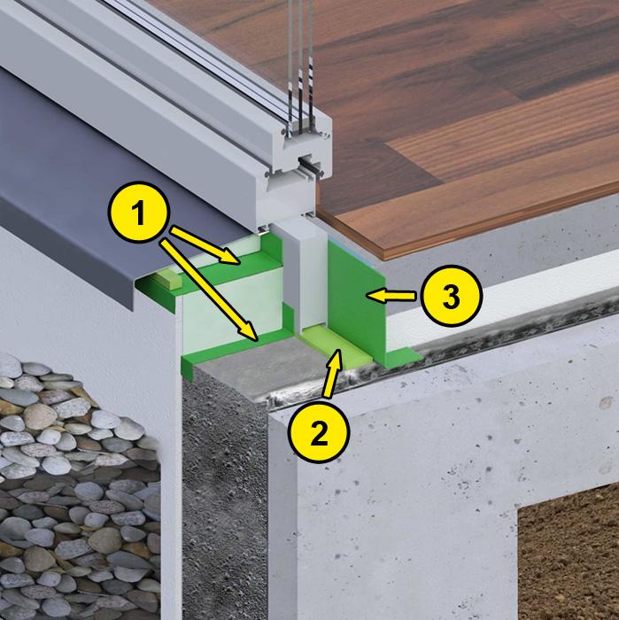 Uszczelnienie progu drzwi balkonowych z wykorzystaniem folii okiennych, pianki poliuretanowej i folii EPDM