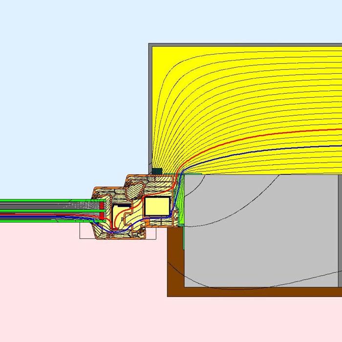 Przebieg izoterm dla bocznego uszczelnienia złącza okiennego z wykorzystaniem folii okiennych i pianki poliuretanowej