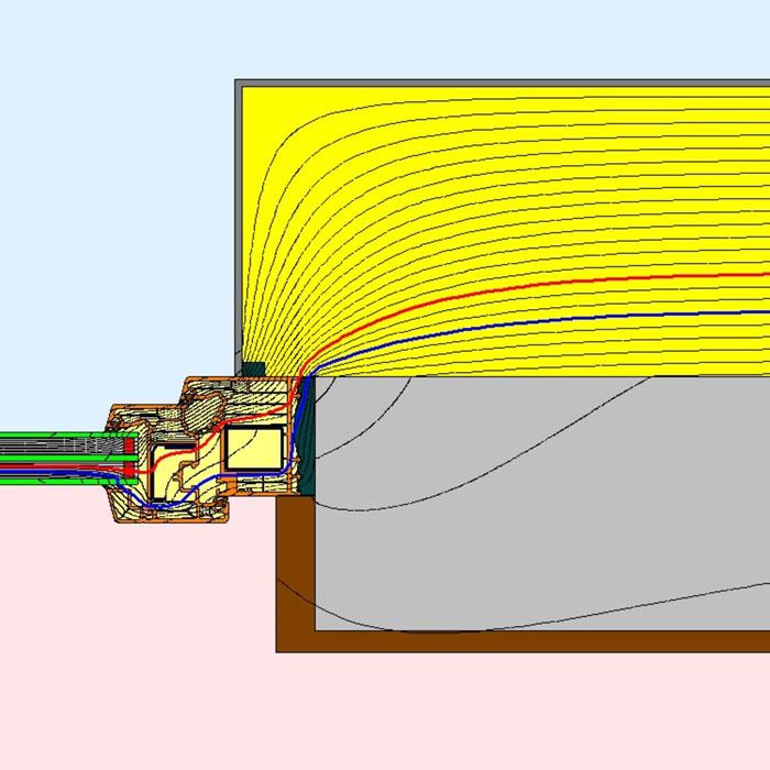 Przebieg izoterm dla bocznego uszczelnienia złącza okiennego z wykorzystaniem wielofunkcyjnej taśmy rozprężnej