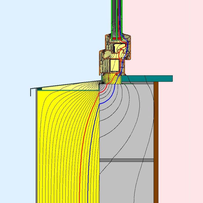 Przebieg izoterm dla dolnego uszczelnienia złącza okiennego z wykorzystaniem kombinacji środków uszczelniających