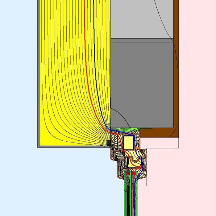 Przebieg izoterm dla górnego uszczelnienia złącza okiennego z wykorzystaniem folii okiennych i pianki poliuretanowej