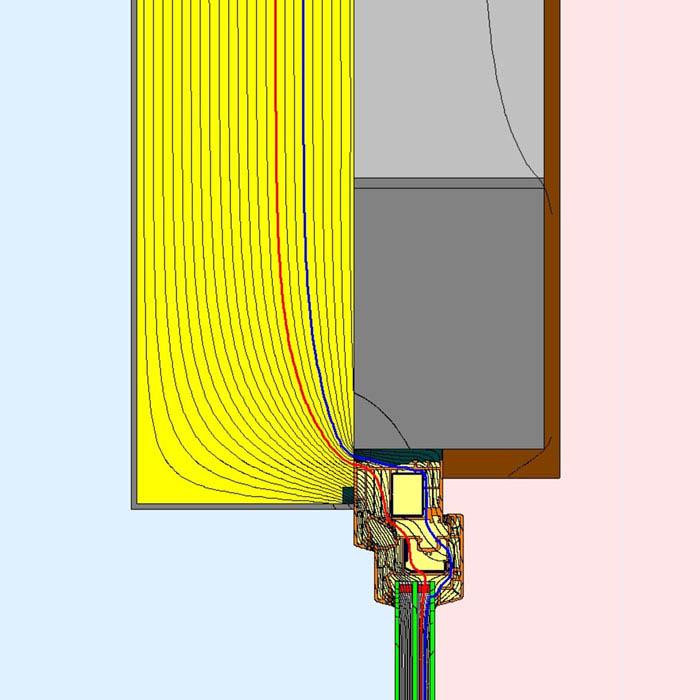 Przebieg izoterm dla górnego uszczelnienia złącza okiennego z wykorzystaniem wielofunkcyjnej taśmy rozprężnej