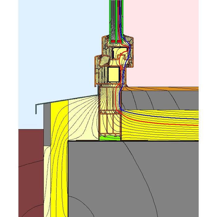 Przebieg izoterm dla uszczelnienia progu drzwi balkonowych
