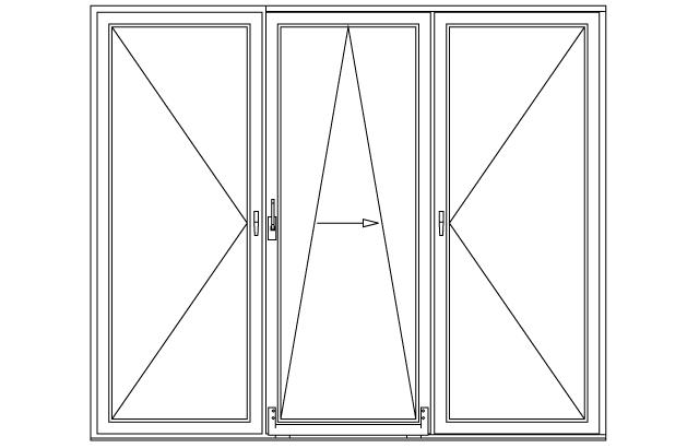 Trzykwaterowe drzwi balkonowe uchylno-przesuwne PSK
