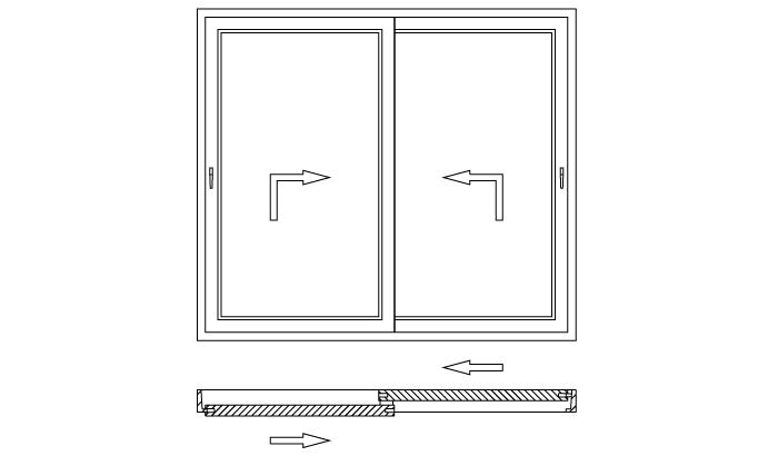 Drzwi balkonowe unoszono-przesuwne HST schemat otwierania D