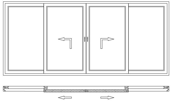 Drzwi balkonowe unoszono-przesuwne HST schemat otwierania C