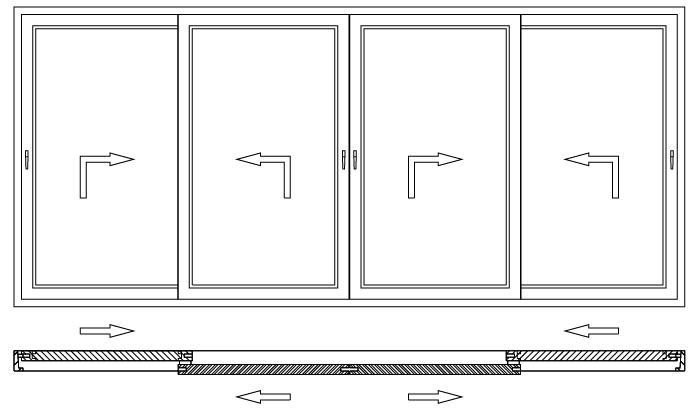 Drzwi balkonowe unoszono-przesuwne HST schemat otwierania F