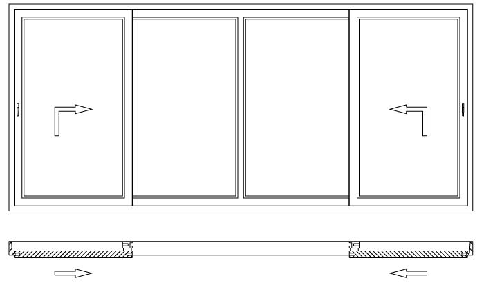 Drzwi balkonowe unoszono-przesuwne HST schemat otwierania K 3S