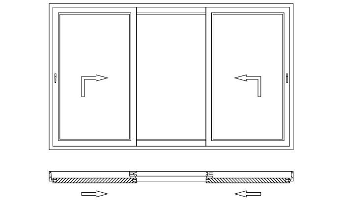 Drzwi balkonowe unoszono-przesuwne HST schemat otwierania K