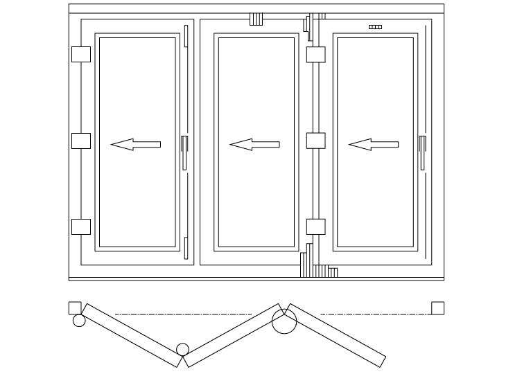Drzwi balkonowe składane/harmonijkowe schemat 330