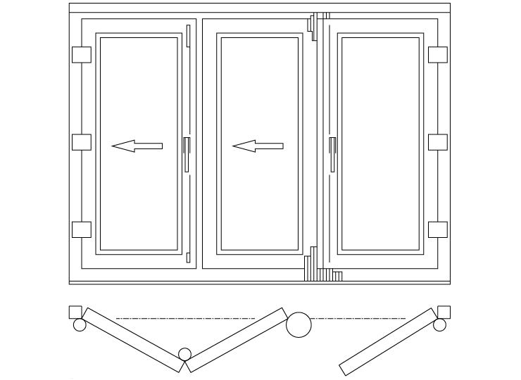 Drzwi balkonowe składane/harmonijkowe schemat 321