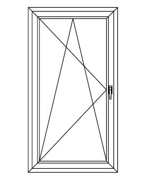 Drzwi balkonowe jednoskrzydłowe uchylno-rozwierane